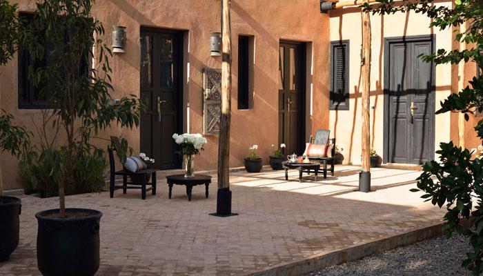 Blue bedroom patio at villa Dinari Marrakech Morocco
