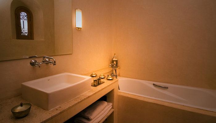 Attractive bathroom in the Colonial Bedroom at Villa Dinari Marrakech Morocco