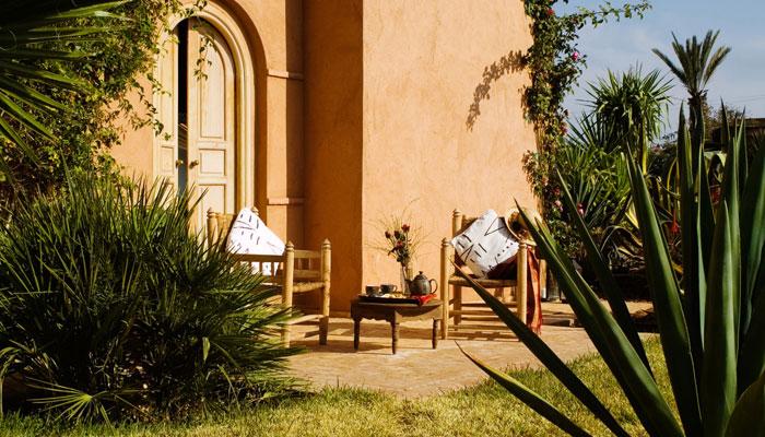 Patio of the Colonial Bedroom at luxury Villa Dinari Marrakech Morocco