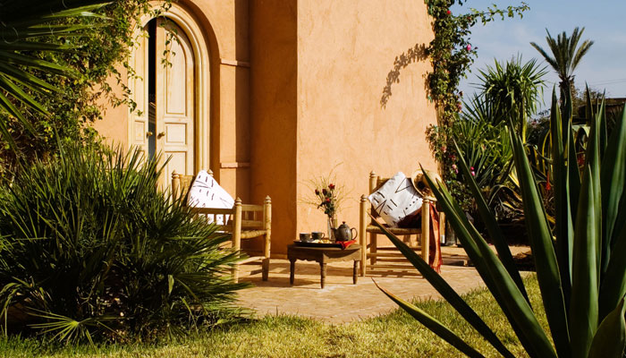 Delightful patio of Oriental bedroom at  Villa Dinari, your luxury accommodation in Marrakech Morocco