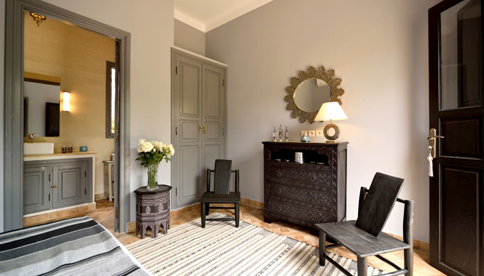 Silver Bedroom at Villa Dinari, luxury accommodation in Marrakech