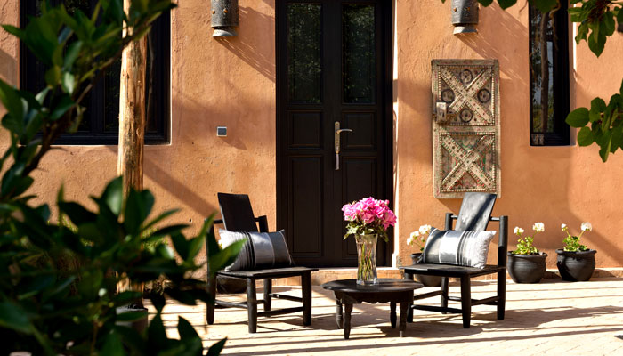 Silver Bedroom patio at luxury Villa Dinari Marrakech