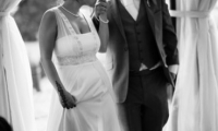 Bride and groom at their wedding at Villa Dinari, Marrakech