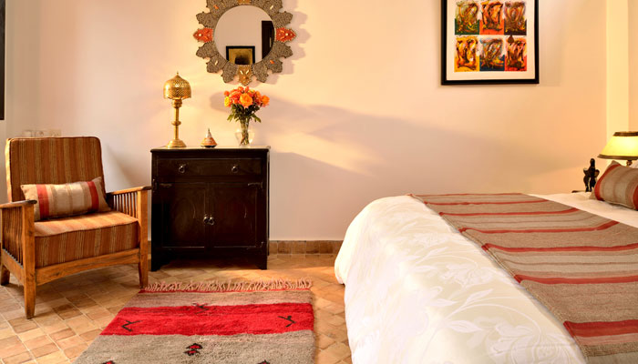 Elegant  Amazigh suite at Villa Dinari, luxury accommodation in Marrakech Morocco
