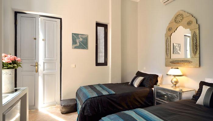 Beautiful Blue bedroom at Villa Dinari, luxury accommodation in Marrakech Morocco