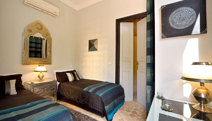 Beautiful Blue Bedroom at Villa Dinari Marrakech Morocco