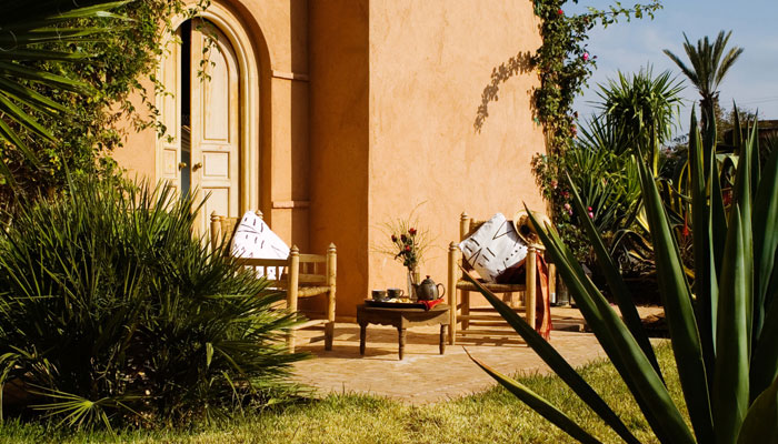 Patio of the Colonial Bedroom at luxury Villa Dinari Marrakech Morocco