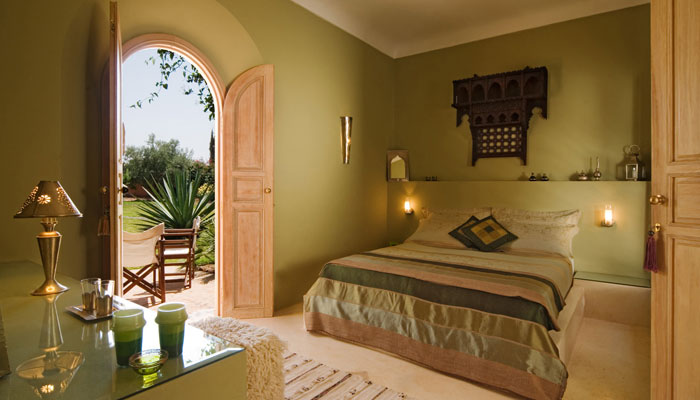 Oriental luxury bedroom at Villa Dinari Marrakech Morocco