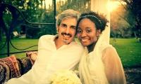 The happy couple at their wedding at Villa Dinari