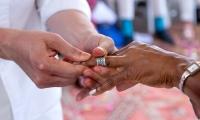 Exchanging vows at a wedding at Villa Dinari, Marrakech