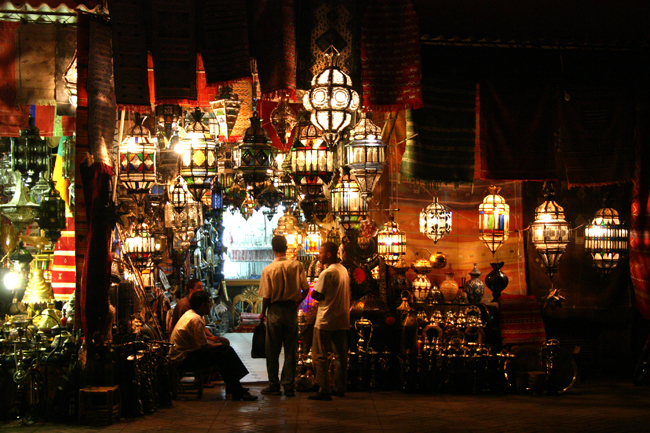 Marrakech medina lighting shop at night