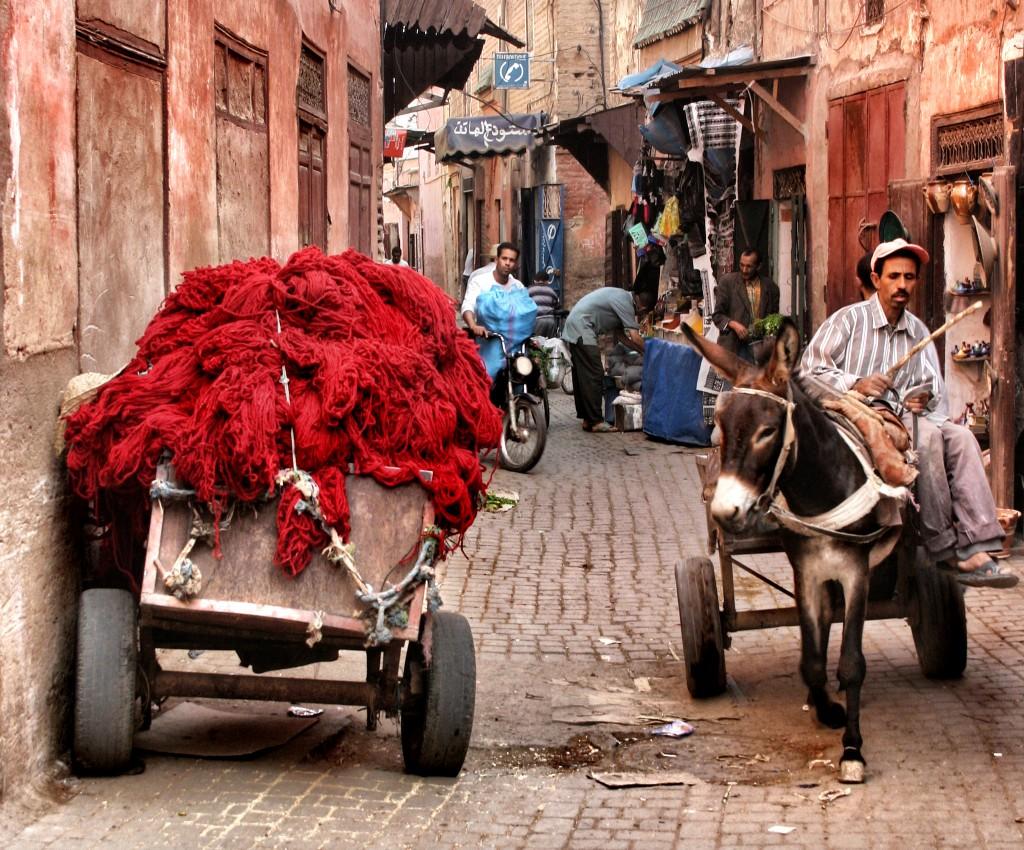 Narrow streets of the Medina, Marrakech, Morocco