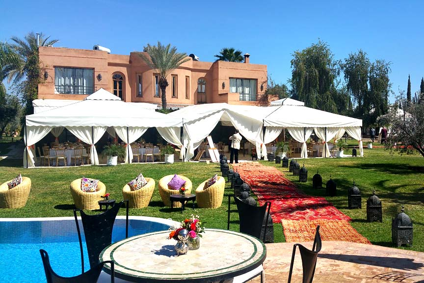 The beautiful garden for a Villa Dinari Marrakech wedding